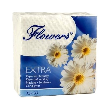 Ubrousky Flowers bílé 100ks